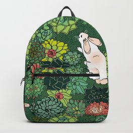 Rabbits in a Succulent Garden Backpack