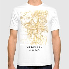 MEDELLÍN COLOMBIA CITY STREET MAP ART T-shirt