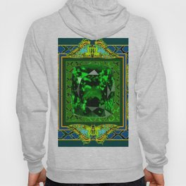 DECORATIVE  GREEN EMERALD GEM & BUTTERFLY ART DESIGN Hoody