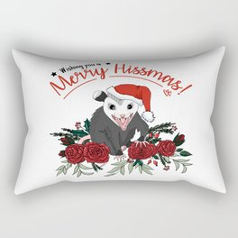 Merry Hissmas - floral christmas themed possum baby Rectangular Pillow