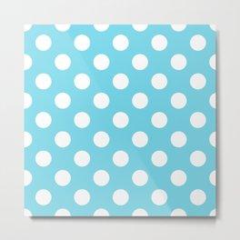 Sky blue (Crayola) - heavenly - White Polka Dots - Pois Pattern Metal Print