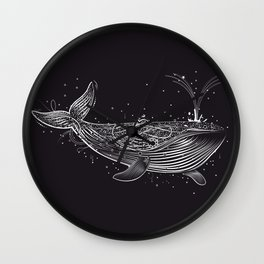 white whale in the ocean Wall Clock