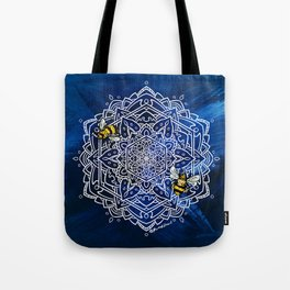 Bee Dance Mandala A - Textured Indigo Tote Bag