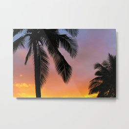 Sunset Silhouette Palm Tree (Color) Metal Print
