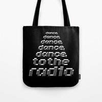joy division Tote Bags featuring Transmission - Joy Division by Werk Zerk