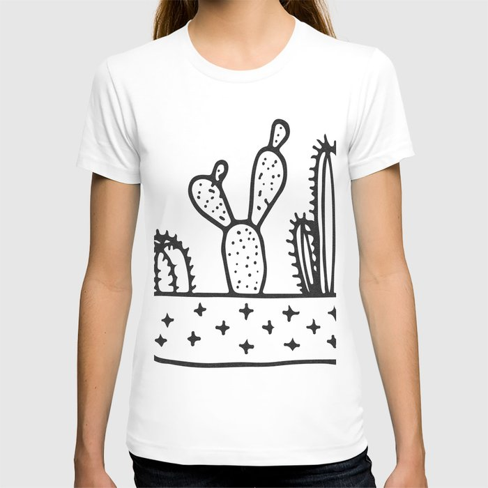 Cactus House Garden Black and White T-shirt