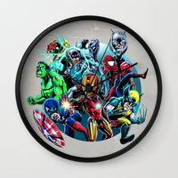 super heroes Wall Clocks featuring Super Heroes by Carrillo Art Studio