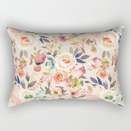 Hand painted ivory pink brown watercolor country floral Rectangular Pillow