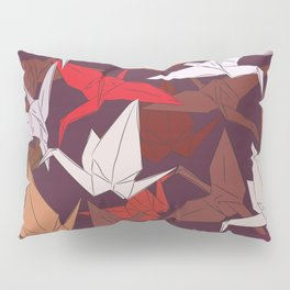 Japanese Origami paper cranes symbol of happiness, luck and longevity, sketch Pillow Sham