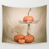pumpkin Wall Tapestries featuring Autumn Pumpkin by Terri Ellis