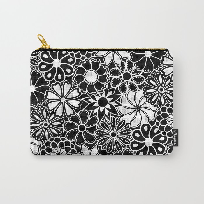 Mid Century Hawaiian Flower Print - Black and White Carry-All Pouch