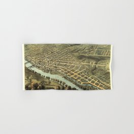 Bird's Eye View of Lafayette, Indiana (1868) Hand & Bath Towel