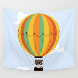 Retro hot air balloon with a raccoon Wall Tapestry