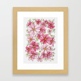 Pink Spring Flower Pattern Framed Art Print
