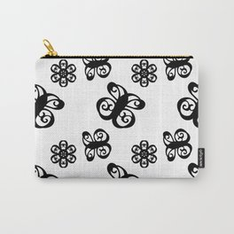 Curly Butterflies and Flowers Pattern Black on White Carry-All Pouch