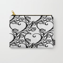 Tribal heart rose pattern white Carry-All Pouch