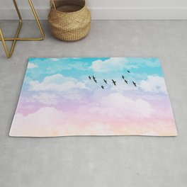 Little Fluffy Clouds Pastel Sky with Birds Rug