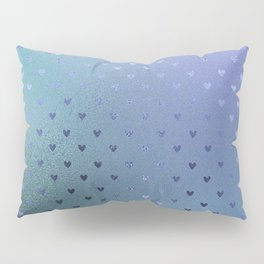 Minimalist Heart Pattern in Iridescent Blue 26 Pillow Sham