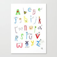 alphabet Canvas Prints featuring Alphabet  by Maxine Lee-Mackie