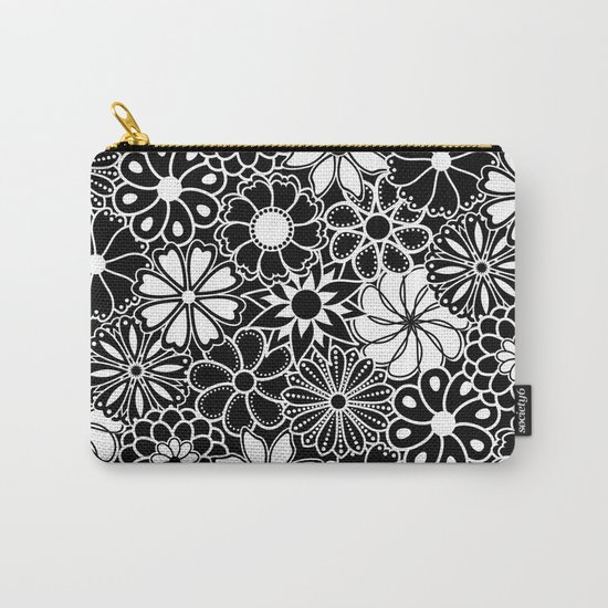 Mid Century Hawaiian Flower Print - Black and White by elsysart