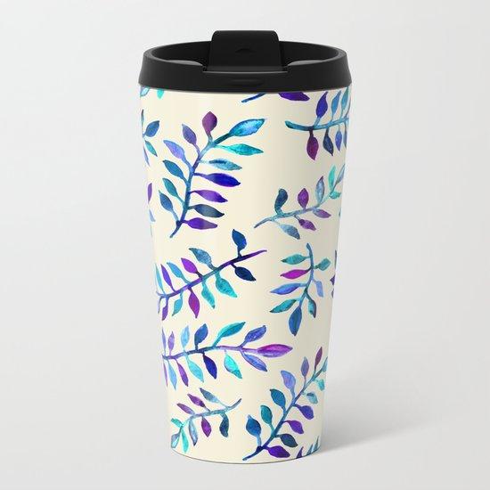 Hand Painted Purple & Aqua Leaf Pattern on Cream Metal Travel Mug