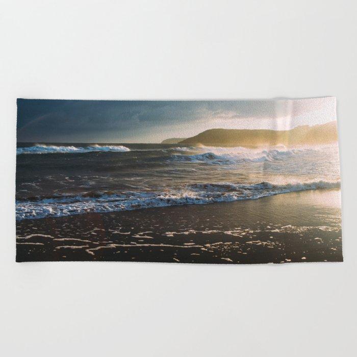 Misty Ocean #sunset Beach Towel