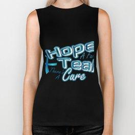 Hope A Faith Teal Ovarian Cancer Awareness Biker Tank