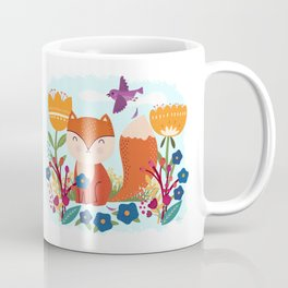 A Fox In The Flowers With A Flying Feathered Friend Coffee Mug