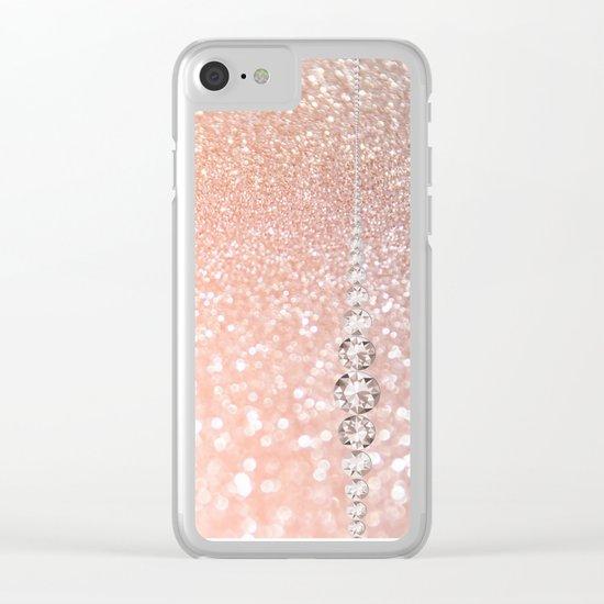 Diamonds are girls best friends II - Pink glitter texure Clear iPhone Case