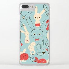 Bunnies (blue) Clear iPhone Case