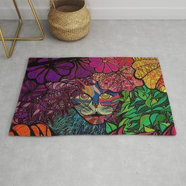 Tiger in tropical jungle design by Maru Cat Kitty Feline Animal lovers Rug
