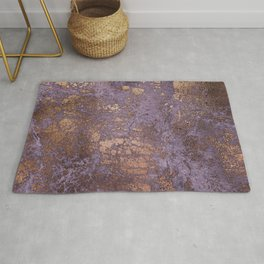 Purple and Copper Glamour Ink  Marble Texture Rug