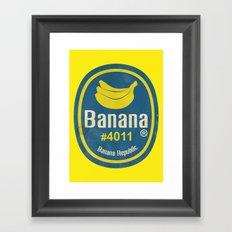 Banana Sticker On Yellow Framed Art Print