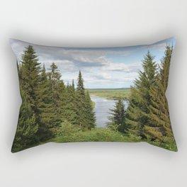 Landscape view on the taiga in Kargort village in Komi Republic of Russia. Rectangular Pillow