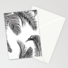 Black palm tree leaves pattern Stationery Cards