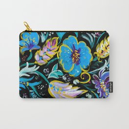 Colorful floral abstraction #4 acrylic painting , flower acrylic painting on a black background, Carry-All Pouch