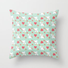 Baby Unicorn with Hearts Throw Pillow
