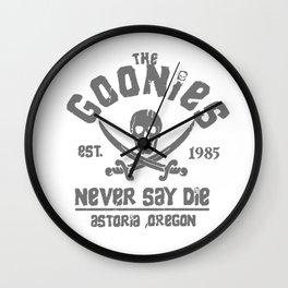 The Goonies - Never Say Die - Grey on Black Wall Clock