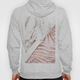 Rose gold marble & tropical ferns Hoody