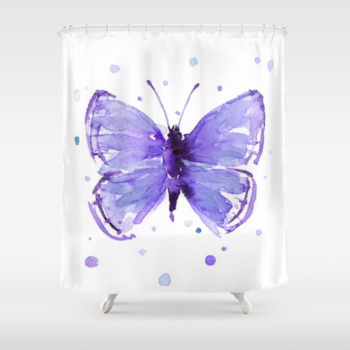 Butterfly Painting Purple Violet Abstract Shower Curtain