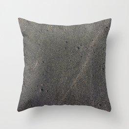 Black sand background, Tyrrhenian sea beach near Roma, Italy Throw Pillow