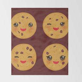 Kawaii Chocolate chip cookie Throw Blanket