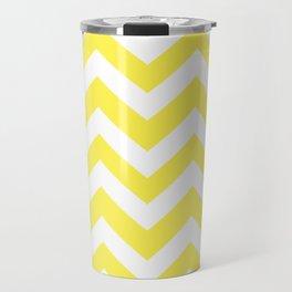 Lemon yellow - yellow color - Zigzag Chevron Pattern Travel Mug