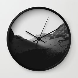 Sun rays over the mountains Wall Clock