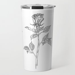 Rose with Tarot Suits / Botanical Line Drawing Travel Mug