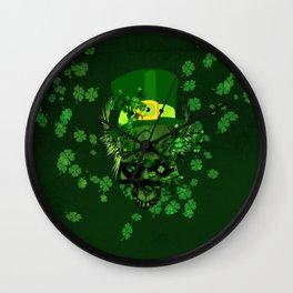 Happy st. patrick's day, funny skull  Wall Clock
