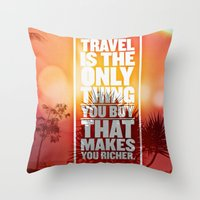 quotes Throw Pillows featuring Quotes - Travel by MehrFarbeimLeben