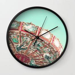 Deep Mint Flying Chairs Wall Clock