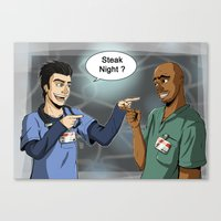scrubs Canvas Prints featuring Steak Night of J.D. and Turk (Scrubs) by Matteo Tosin