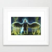 good omens Framed Art Prints featuring Good Omens: Yellow Smoke by Katerina Romanova